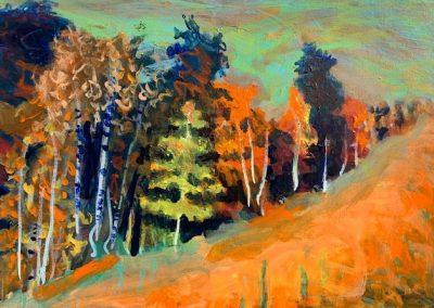 "Orange Fall, Acrylic on Canvas, 18"" x 24"", $600"