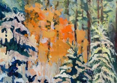 "Tamarack Trees in Early Winter, Acrylic on Canvas, 16"" x 20"", $500"