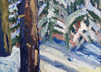 "Bemidji Backyard in Snow, Acrylic on Canvas, 20"" x 16"", $500"