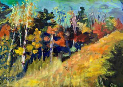 "Jazzy Autumn, Acrylic on Canvas, 20"" x 30"", Sold"