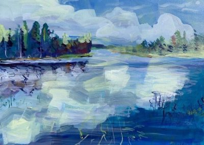 "Lake Itasca in Summer, Acrylic on Canvas, 20"" x 30"", Sold"
