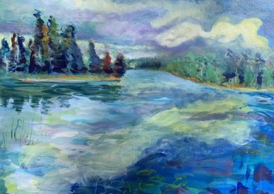 "Lake Itasca in Summer no. 3, Acrylic on canvas, 20"" x 30"", Sold"