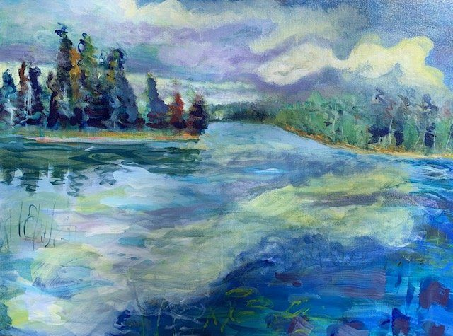 "Minnesota Landscape Painter, Lake Itasca in Summer no. 3, Acrylic on canvas, 20"" x 30"", Sold"