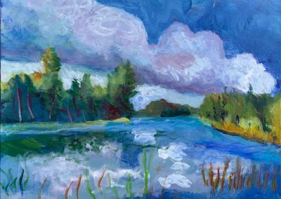 "Lake Itasca in Summer no. 4, Acrylic on canvas, 16"" x 20"", Sold"