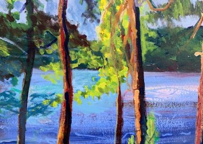 "Water Through the Trees, Acrylic on Canvas, 20"" x 16"", Sold"