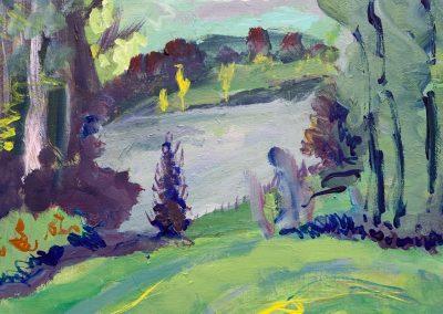 """Gillian Bedford, Deedee's Lake no. 2, Acrylic on Linen, 18"""" x 24"""", $600"""
