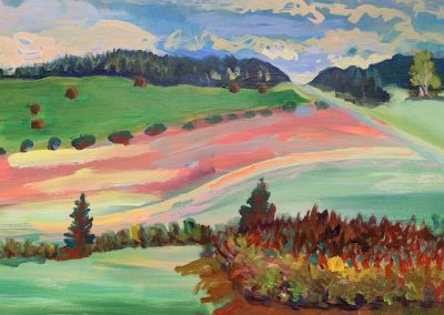 "Gillian Bedford, Minnesota Countryside, Acrylic on Linen, 20"" x 30"", $700"