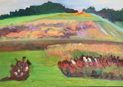 "Gillian Bedford, Spiritual Heaven, Acrylic and Oil on Linen, 24"" x 36"", $600"