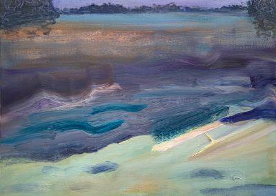 """Gillian Bedford, Minnesota Lake, Oil on Linen, 18"""" x 24"""", $600"""