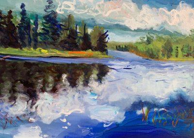 "Gillian Bedford, Lake Itasca no. 6, Acrylic on Canvas, 16"" x 20"", $500"