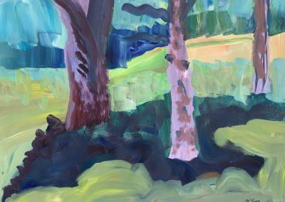 "Gillian Bedford, Becida Collage; Three Together. Acrylic on Canvas, 30"" x 40"", $600"