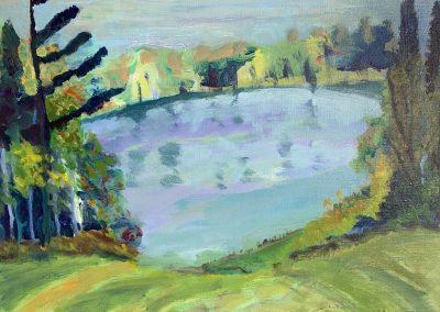 """Gillian Bedford, Deedee's Lake, Acrylic on Linen, 16"""" x 20"""", $500"""